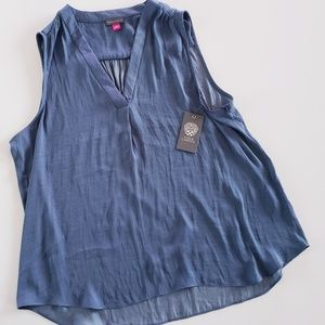 VINCE CAMUTO Rumple Blouse in China Blue